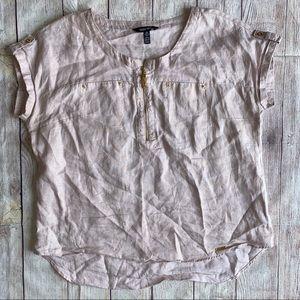 Ellen Tracy XL Linen pink/gold Top Blouse